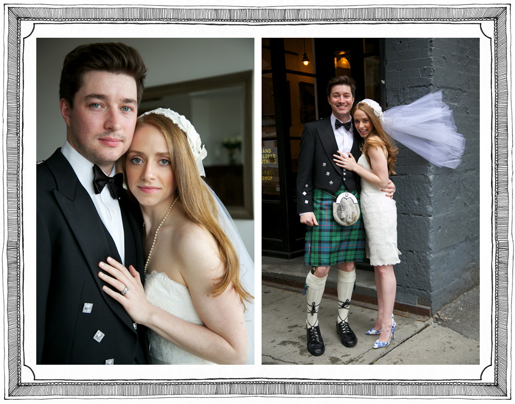 Scottish Kilt and Flying Veil Rock Downtown Wedding