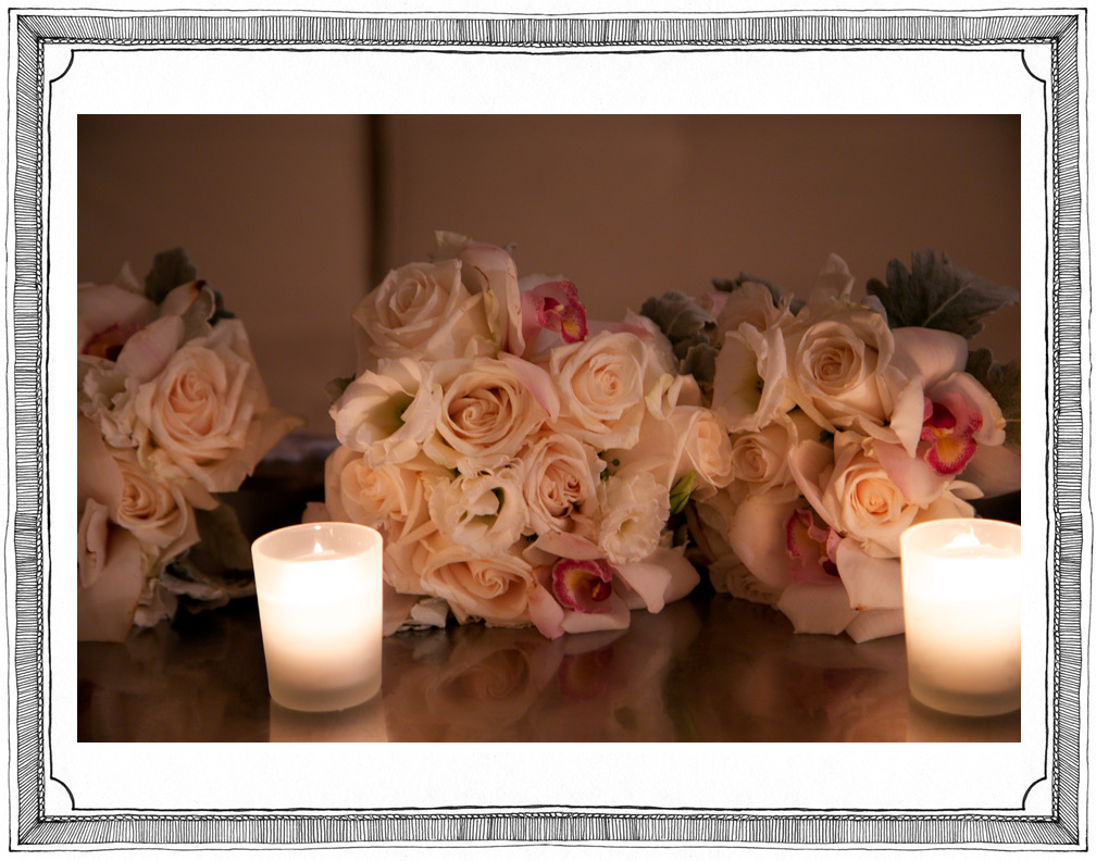 Detail of Bridal Bouquets Made of White and Pink Roses