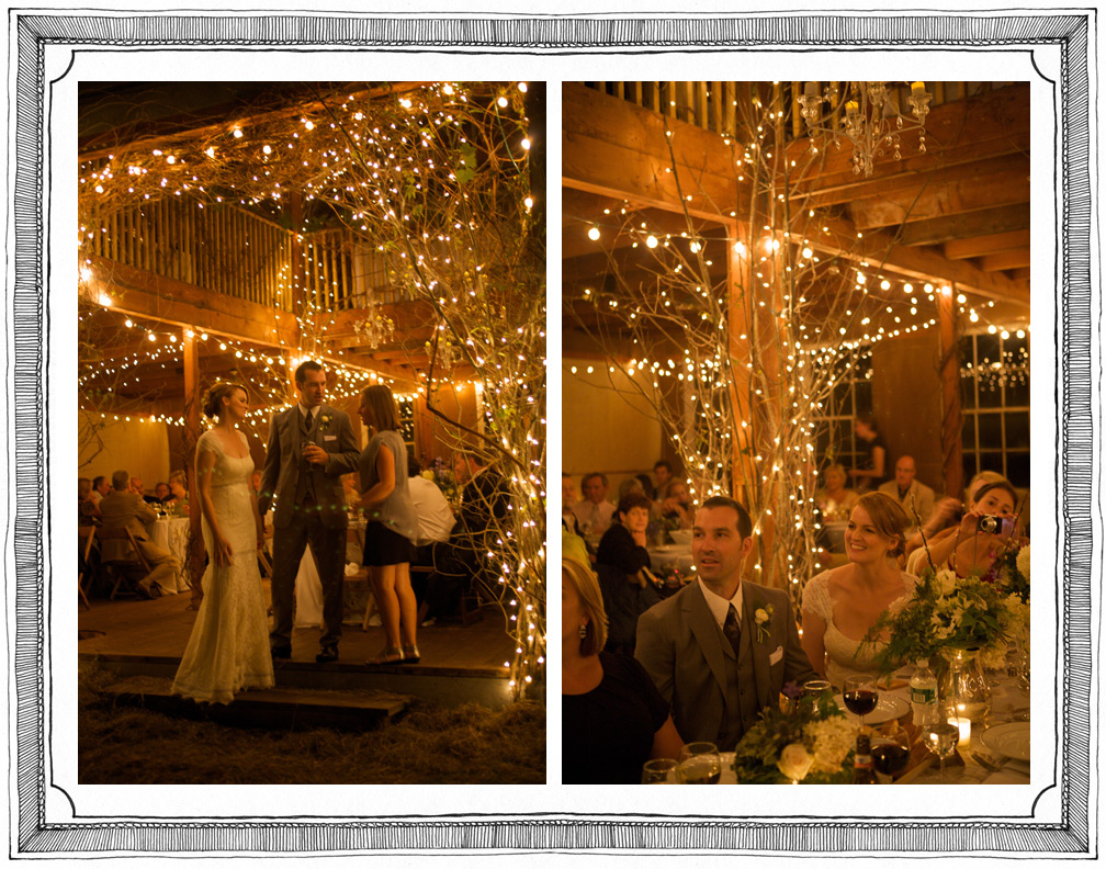 Bride and Groom Celebrate with a Barn Wedding Under Twinkly Lights