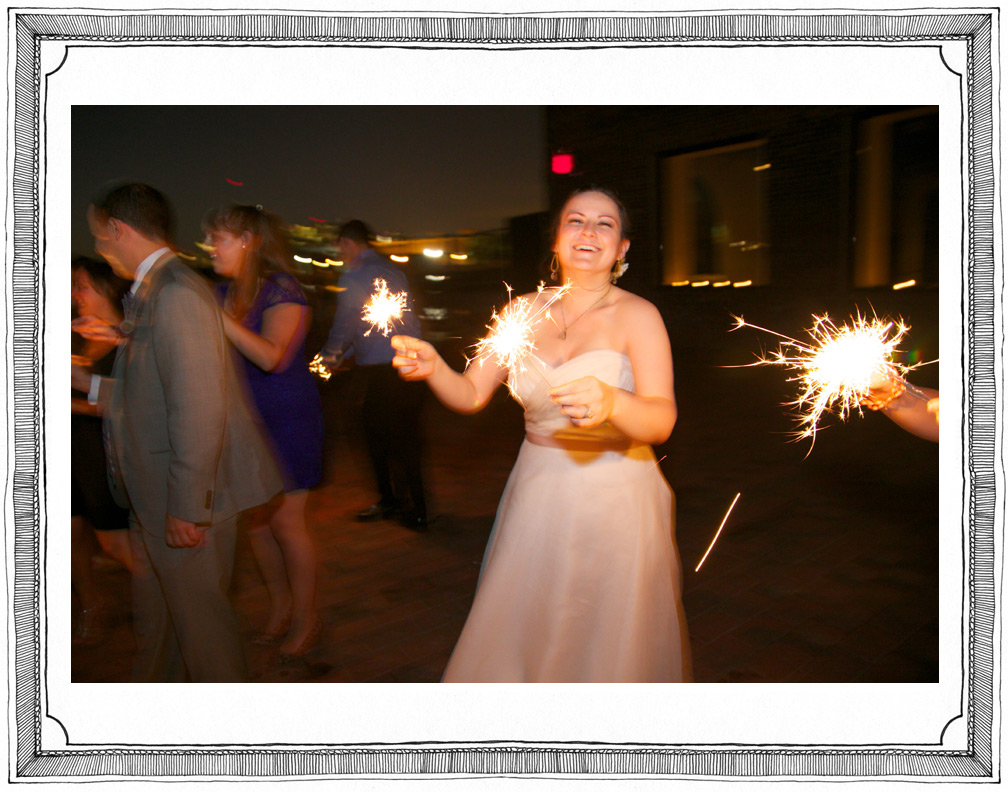 Joyful Bride Celebrates with Sparklers