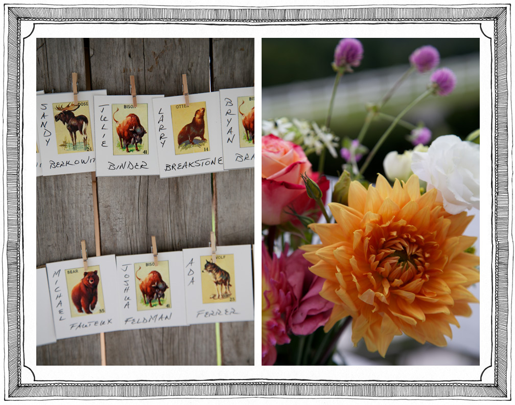 Seating Place Cards and Floral Details at Wedding